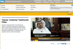 SAP Customer Testimonial Page